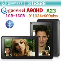 Gooweel A90HD  9 inch A23 Dual core tablet PC android 4.2.2 1GB / 16GB Dual camera WiFi OTG HD 1024x600pixs Big battery
