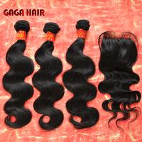 4pcs/lot,cheap Peruvian virgin human hair,3pcs hair Bundles with 1 Pcs Lace Top Closure Bleached knots, Body Wave,Free shipping