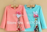 Long Sleeve kids t shirts Pastorale Patchwork girls t-shirt base shirt Bowknot baby clothing 2colors free shipping 613057