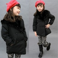 Korean style solid color girls'   cotton padded coat  thicken jacket girls winter coat kids jackets coats#13C029