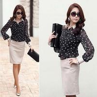 Korean Dot Printed Lady Chiffon Shirts Plus Size S-3XL Long Sleeve Design Clothing 2014 Charm Women Casual Black Blouses