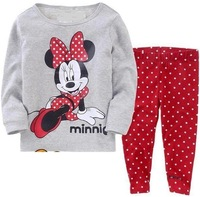 Newest 2013 baby girls cartoon clothing sets kids pajama long sleeve shirt+pants suits baby cotton cute sleepwear suits