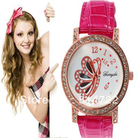 1pcs 2013 New Fashion PU leather butterfly pattern Rhinestone crystal Women Lady Round Dress Wrist Watch  Hot Selling