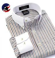 2014 New Arrival Fashion Design Cotton Dinner Party Dress Shirt/Men's Long Sleeve Contrast Color Stripe Business Shirt Men Brand