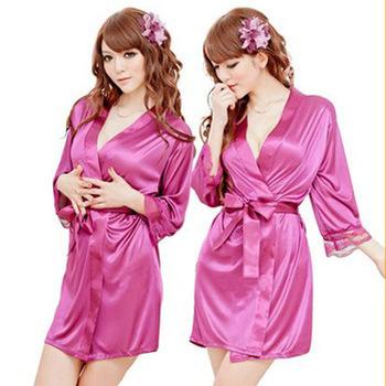 Free Shipping Women Purple Sexy Sleepwear,Promotion Sexy Adult Sleep Pajamas,Cheap Purple Silk Sleepwear(Sleepwear+Belt+T-back)