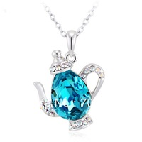 Fashion Women's Pendant Necklace Cutout Teapots Pendant Necklace With Austrain Crystal Rhinestone White Gold Plated 6Pcs