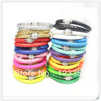24pcs/lot  PU Leather Cord Bracelet Braided Two Laps Fimo Magnet Clasp Bracelet Free Shipping