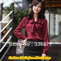 Free Shipping Ladies Fashion Butterfly Collar Satin Shirt 3XL Brand High Quality Satin Shinny Uniform Shirt QR-4933