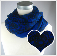 2013 New Skull Style Fashion Ladies Scarves Cool Blue Scarf Shawl,100*180,FREE SHIPPING