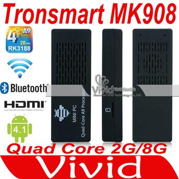 HK Free Post Shipping Mini PC Tronsmart MK908 Quad Core TV Box  Android 4.1 RK3188 Cortex-A9 1.8GHz 2G/8G XBMC Bluetooth WiFi