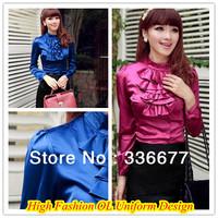 Free Shipping Ladies 2013 New Design Autumn Satin Long Sleeve Shirt Office Ladies Elegant Dress Blouse QR-4934
