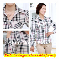 Free shipping Elegant designer High quality lady big check slim fit shirt for women dress summer blouse QR-1112