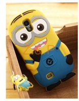 Cute Cartoon Despicable Me Minion Silicon Cases Cover For Samsung Galaxy S4 I9500 Free shipping