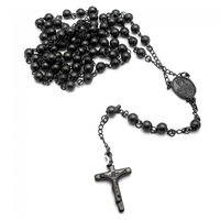 Wholesale black jesus Cross pendant  Necklace for men and women Black Rosary Necklace