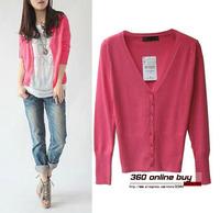 Korean style figure flattering long sleeve V-neck mercerized cotton knitted cardigan sweater for women autumn and spring season
