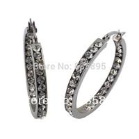 wholesale  Wedding Silver  Crystal Rhinestone Hoop Earrings for women