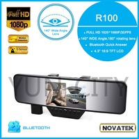 "Original Car Mirror DVR Camera R100 Novatek 4.3"" LCD Full HD 1080P Bluetooth Option G-Sensor Rearview Mirror Video Recorder"