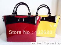 High-gloss patent leather cow leather bag fashion leisure bag Mobile Messenger handbags leather bag star style.S.Freeshiping