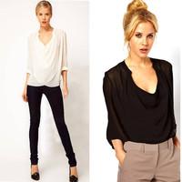 free&drop shipping Casual Womens Chiffon Tops Blouse Drape Pleated V-Neck Fashion Solid Long Sleeve