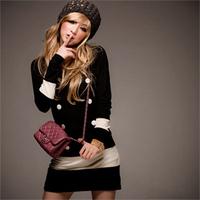 High Quality Free shipping 2014 New Fashion  Women Plus Size Spring Autumn  Winter Long Sleeve Cotton Dress  Wholesale & Retail