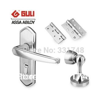 GULI high security interior door lock Bedroom Indoor (handle lock XL5K5 & One Pair Door Hinges & One Stopper)