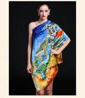 [Silk charmeuse scarf]90cm*90cm square shawl/100% Mulberry silk scarf/High quality silk/Printed scarf/Dark Blue