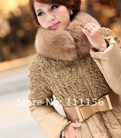 DHL EMS Free Shipping Top fashion Nice Quality Down Jacket with Big Fox Fur collar Solid winter Warm Outwear with belt