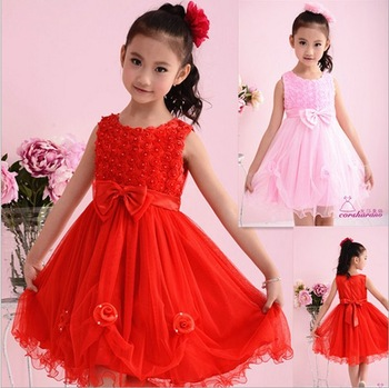 New 2013 Christmas Girl Wear Kids Dresses Fashion White, pink Girl Dress with Bow Girl Party Dress   5pieces / lot  flower dress