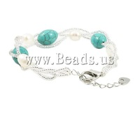 Free shipping!!!Fashion Turquoise Bracelets,Wedding Jewelry, Glass Seed Bead, with Natural Turquoise & Freshwater Pearl