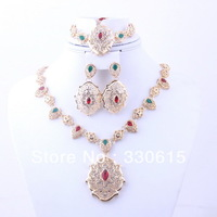 Christmas Gift 18 Gold Plated Cute Red Charming Rhinestone Necklace earrings Sets Fashion Romantic Wedding Bridal Jewelry Sets