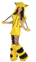 Yellow Pikachu Halloween Costumes Animal Cosutumes Furry Women's Girl's Stage New Year Costumes