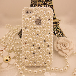 Hot Sale Pearl Rhinestone Hard Back Cover  Case For iPhone 5 5s 4 4s 6 Samsung S2  S4 Case White Diamond Bling Protective Sleeve