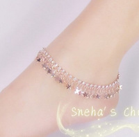 full STAR boutique indian anklets rose gold strass tobillera bijoux  legging anklet free shipping