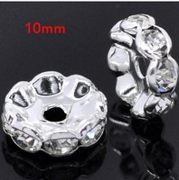 Free Shipping 500 Silver Plated Flower Side Clear Rhinestone Spacer Beads 10x3mm