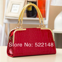 new 2013 japanned leather shell bag crocodile pattern women's handbag  girl small shoulder bag