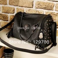 Fashion 2013 skull bag rivet tassel motorcycle bag cross-body bag black portable women's handbag
