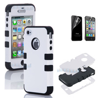 Hybrid High Impact Case Cover for iPhone 4S 4 4G  Silicone + Film B67