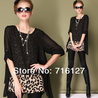 Free shipping autumn and winter fashion Leopard big yards loose long-sleeved fake two piece blouseS-XXXXXL
