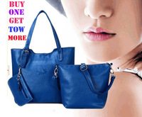 New Arrival 2013 women's hot Genuine leather shoulder bags cross-body Classic cowhide Blue handbags Wholesale free shipping