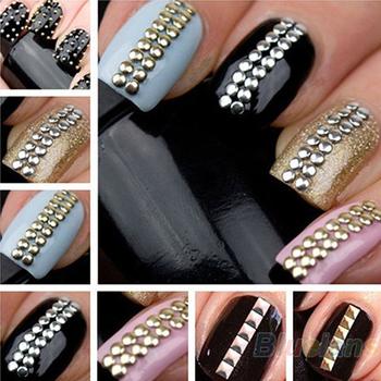 2014 Brand New Designer 1000pcs 3D Design Nail Art Decoration Stickers Tip Metallic Studs spike Gold & Silver stud Sale 017A