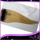 "Best quality 4""x4"" #1bT#613 blonde two tone top closure Brazilian virgin human hair Straight  ombre lace closure with baby hair(China (Mainland))"