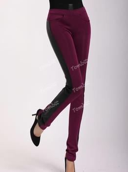 Stretch Женщины SKINNY Длинный Pencil Брюки 2013 Leather Splice Lady Capris PLUS ...