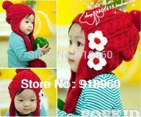 new Autunm&winter baby Kids caps/flower knitting Wool Bomber Hats girl's children Long-eared cap For 1-4 Years old/ATQ