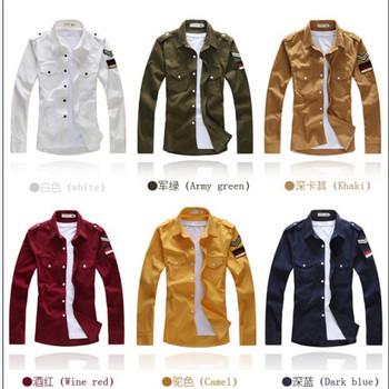Corduroy embroidered logo all-match long-sleeve shirt military shirt best brand checked dress shirts for men designer