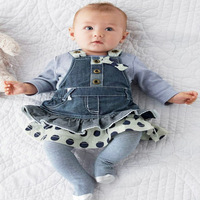 Retail baby girl jeans, dress sets autumn baby (overall + long-sleeve T-shirt )  baby clothing sets,free shipping,