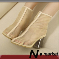 2013 fashion beauty new arrival gauze element fashion transparent thick heel high-heeled shoes