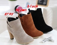 New Women's Fashion High Heel Faux-Suede Belt Buckle Ankle Boots Shoes