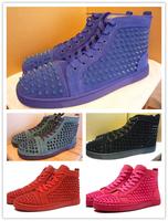 France Luxury handmade suede spikes sneakers men,designer brands red bottom LOUIS SPIKES MEN'S FLAT,dance trainer christmas gift