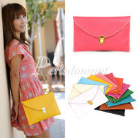 Women Fashion Envelope Clutch Messenger Chain Purse HandBag Shoulder Tote Evening Bag PU Leather 12 Candy Color BG0034