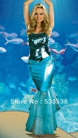 2013 New  Bling Singer Dress Blue Celeb Red Carpet Dancer Gown Cocktail Mermaid Costume